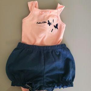 Calvin Klein 3-6mo pink onsie and navy shorts